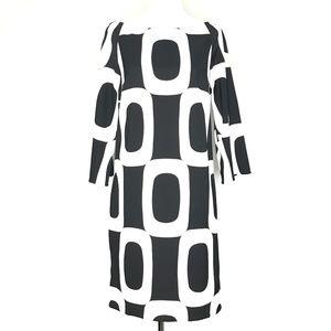 London Times Black Geometric Shift Dress A040514